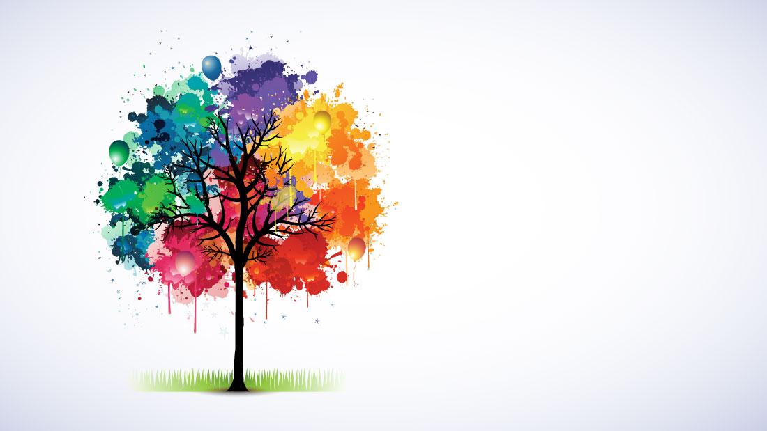 Ilustración de árbol hecha con manchas de pinturas de colores y globos de colores